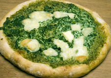 Organic pizza spinach basil pesto cheese Royalty Free Stock Photo
