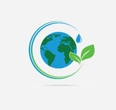 Organic Planet. Organic the planet, drop of water, leaf plants Stock Photo