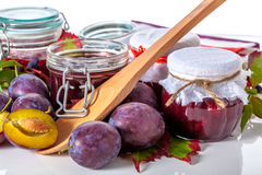 Organic plums and jam Royalty Free Stock Photography