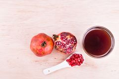 Organic Pomegranate juice with high anti-oxidant good for health Stock Photography
