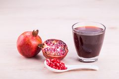 Organic Pomegranate juice with high anti-oxidant good for health Royalty Free Stock Photos