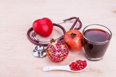 Organic Pomegranate juice with high anti-oxidant good for health Royalty Free Stock Photography