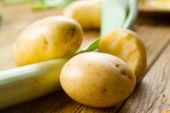 Organic potato on wood - selective focus. Organic potato and onion on wood - selective focus Stock Photos