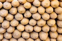 Organic potatoes on a market stall. Organic potatoes laid out on a market stall Royalty Free Stock Photos