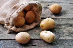 Organic potatoes in natural fur on a wooden table Royalty Free Stock Photo