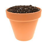 Organic potting soil in clay pot Stock Photography