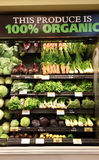 Organic Produce. Grocery store display of organic produce Stock Image