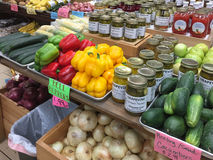 Organic produce for sale in a  farmer market Royalty Free Stock Photo