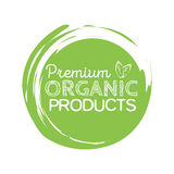 Organic product badge, vintage label with hand drawn lettering Natural cosmetics. Stock Images