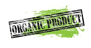 Organic product black and green stamp on white background. Organic product black and green stamp stock illustration
