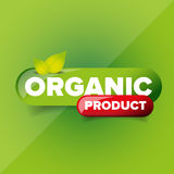 Organic Product button vector. On green stock illustration