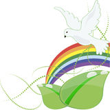 Organic product design, vector illustration. Dove rainbow bright Stock Illustration