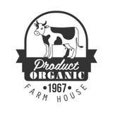 Organic product farm house logo. Black and white retro vector Illustration Royalty Free Stock Photography