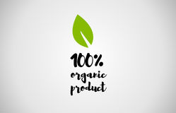 100% organic product green leaf handwritten text white backgroun. 100% organic product text green leaf black white logo  creative company icon design template Royalty Free Stock Photo