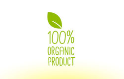 100% organic product green leaf text concept logo icon design. 100% organic product green leaf text concept logo vector creative company icon design template Stock Photo