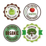Organic product guaranteed seal. Illustration design Stock Images