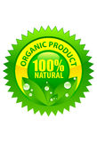 Organic product label 100% natural. Label of organic product 100% natural with go green concept Stock Photos