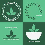 Organic product logo design vector template, eco icon with green leafs. Royalty Free Stock Photos