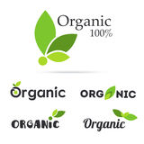 100% organic product logo set. Natural food labels. Fresh farm s. Ymbols and icons. Bio and eco vegan signs and tags. Vegetarian healthy food stickers. Vector stock illustration