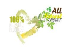 Organic product symbols nature green tone color watercolor look Stock Photo
