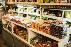 Organic products and grains at the popular market called Mercadao Municipal. Campo Grande, Brazil - April 12, 2018: Organic products and grains at the popular royalty free stock photography