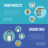 Organic products horizontal. Templates with dairy round icons in line style design, vector illustrations with space for text. Nutritious and healthy products Royalty Free Stock Photos