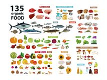 135 organic products. Natural food meat products, vegetables, fruits, dairy products in a set with categories. Isolate on white background stock illustration