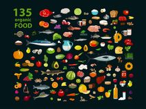 135 organic products. Natural food meat products, vegetables, fruits, dairy products in a set. Isolate on a black background stock illustration