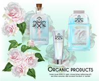 Organic products on pink rose background stock photo