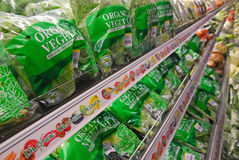 Organic Products on Sale in Supermarket Stock Photos