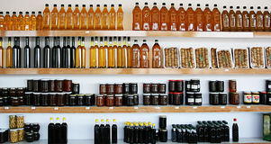 Organic Products Shop. Olive Oils,Dried Figs,Honeys and Jams in Organic Products Shop Stock Images