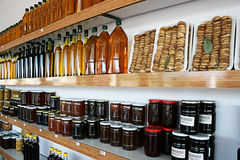Organic Products Shop. Olive Oils,Dried Figs,Honeys and Jams in Organic Products Shop Stock Photo