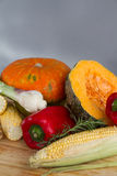 Organic pumpkin squash with fresh vegetables for sou Royalty Free Stock Photos