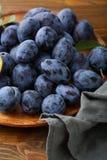 Organic purple plums damson. Food closeup Royalty Free Stock Photography