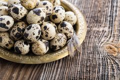 Organic quail eggs. On the vintage plate. Natural gourmet meal stock images