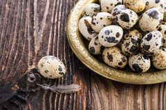 Organic quail eggs. On the vintage plate. Natural gourmet meal stock image