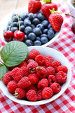 Organic raspberries in bowl. On a table Royalty Free Stock Images