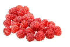 Organic Raspberries. Isolated on a white background Stock Photo