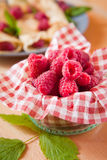Organic raspberry fruits from local farm Royalty Free Stock Photography