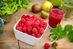 Organic raspberry, smoothie of raspberry and green smoothie Stock Photography