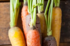 Organic Raw Carrots Close Up Tied In Bunch On Vintage Rustic Woo Stock Photo