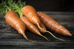 Organic Raw Carrots with Greens on Wood Royalty Free Stock Photography