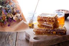 Organic  raw flower honey on savior of the honey feast day Stock Images