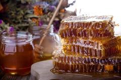 Organic  raw flower honey on savior of the honey feast day Stock Image