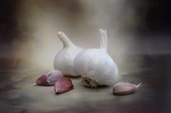 Organic Raw Garlic Cloves and Bulbs Royalty Free Stock Photo