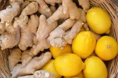 Fresh ginger and lemon Stock Image