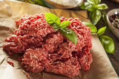 Organic Raw Grass Fed Ground Beef Stock Photo