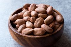 Organic Raw Hazelnuts in Wooden Bowl. Organic Food Royalty Free Stock Photography