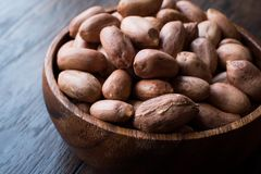 Organic Raw Hazelnuts in Wooden Bowl. Organic Food Stock Image
