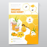 Organic raw honey designe brochure. Abstract composition. A4 brochure cover design of honey. Fancy title sheet model. Creative vector front page art. Banner royalty free illustration